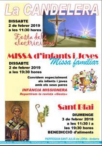 Missa d'infants i joves dissabte 2 de febrer a les 19:15h @ Sant Julià de Lòria