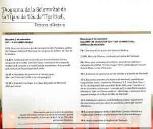 Diada Nacional de Nostra Senyora de Meritxell (Programa)