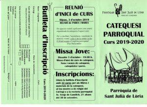 CATEQUESI PARROQUIAL, Curs 2019-2020 @ Parròquia de Sant Julià de Lòria