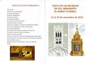 Visita de les relíquies de Sta. Bernadeta al Bisbat d'Urgell @ Sant Crist de Balaguer i la Catedral de la Seu d'Urgell
