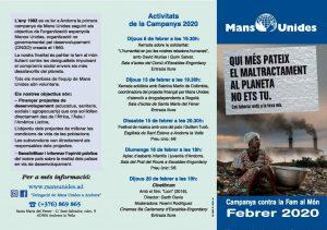 """Campanya de Mans Unides, lema d'aquest any: """"Qui més pateix el maltractament al planeta no ets tu. Col.laborar està a la teva mà""""."""