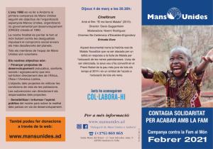 """Campanya 2021 de Mans Unides: """"Contagia solidaritat per acabar amb la fam"""" @ Cinemes Illa Carlemany"""